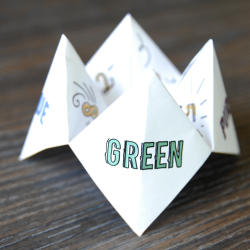 What to write in a paper fortune teller